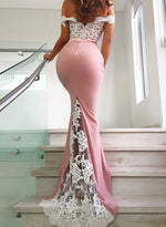 Pink mermaid lace long prom dress, off shoulder evening dress