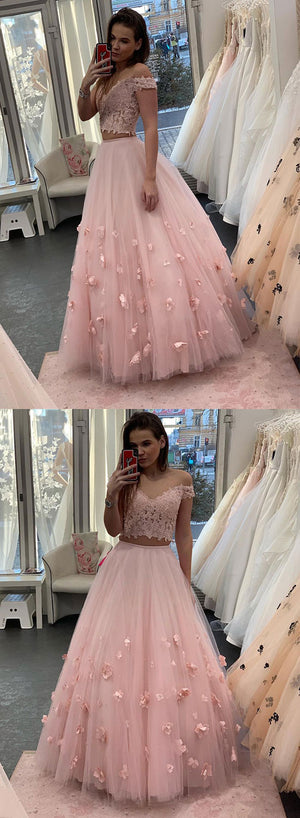 Pink lace tulle long prom dress, two pieces evening dress