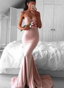 Pink mermaid lace long prom gown, pink evening dress