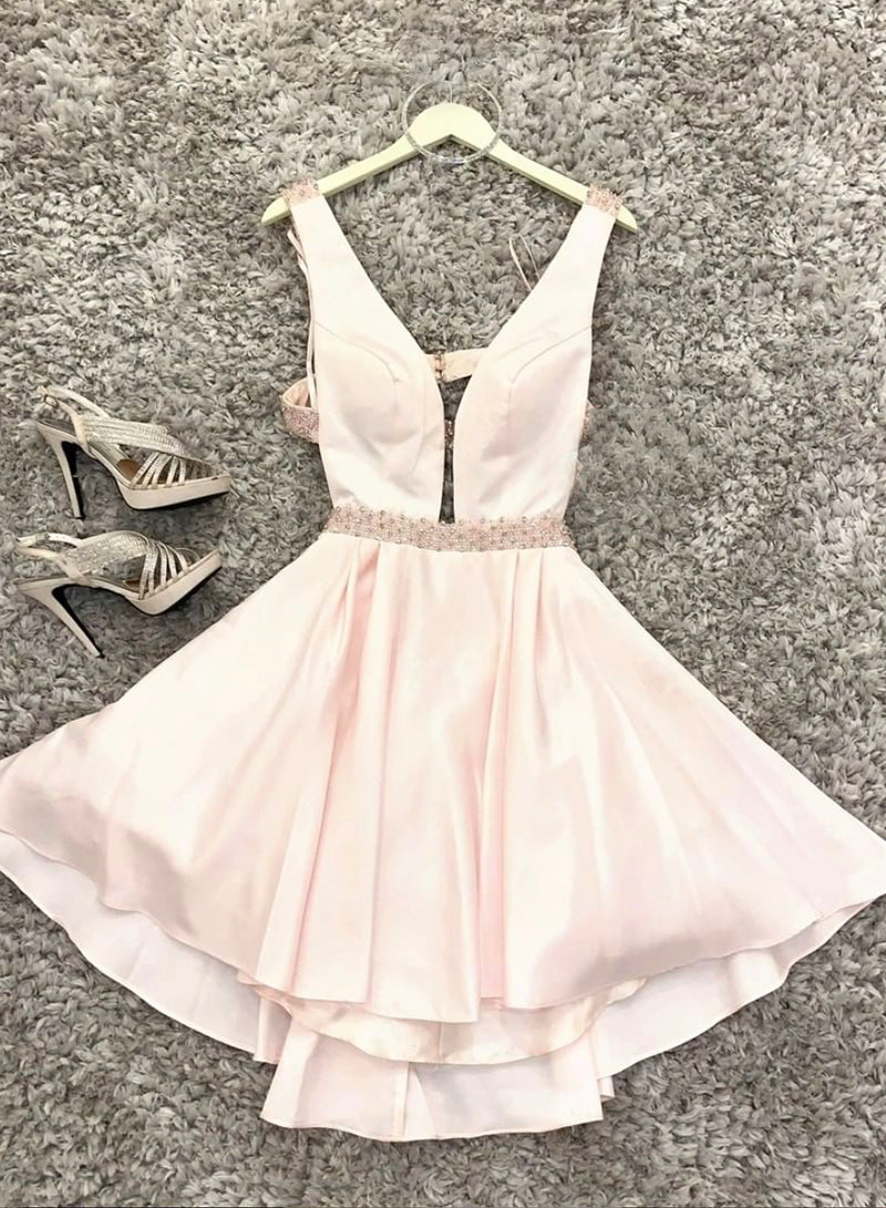 Cute v neck satin short prom dress hoco dress