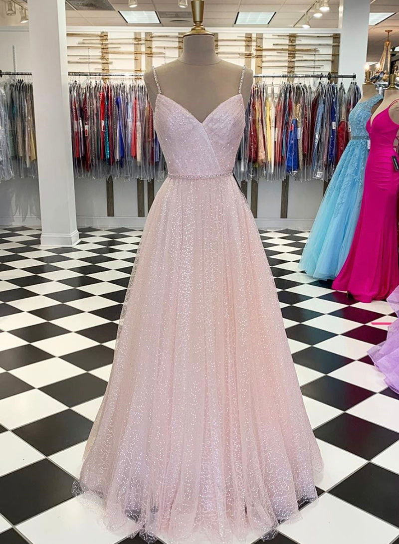Pink tulle sequins long prom dress evening dress