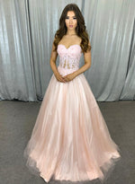 Pink lace long prom dress sweet evening dress