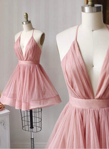 Pink v neck tulle short prom dress homecoming dress