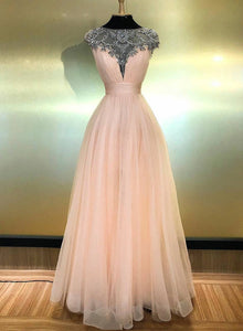 Pink tulle beads long prom dress evening dress