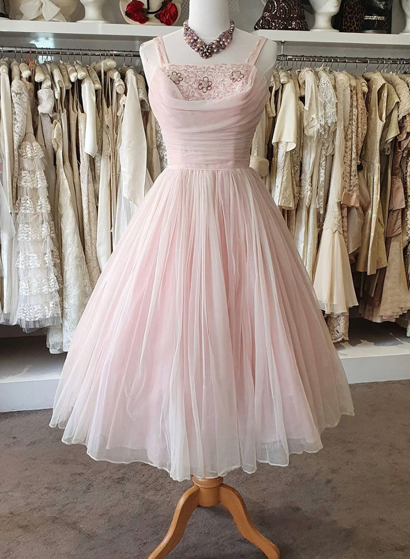 Pink A line short prom dress pink evening dress