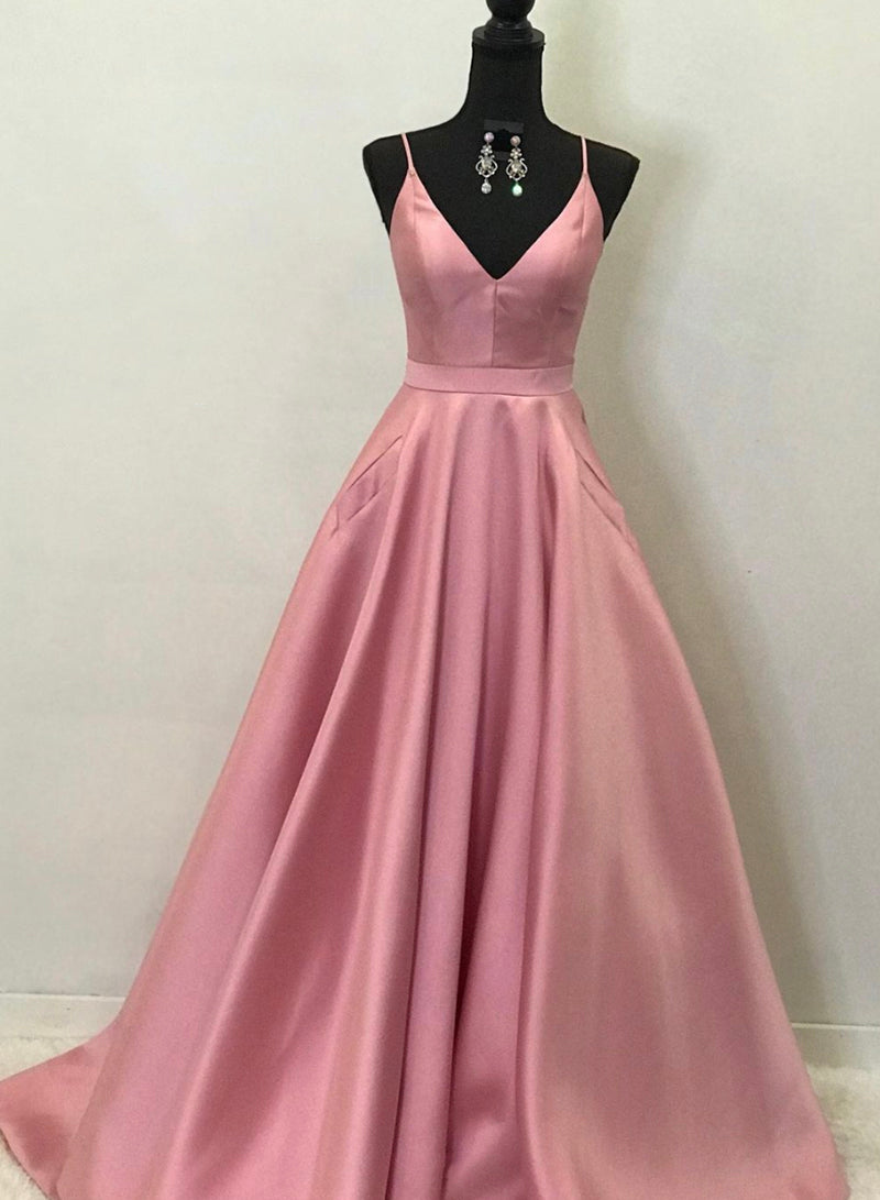 Pink v neck satin long prom dress pink evening dress