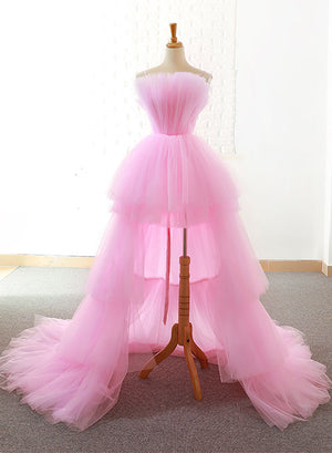 Pink tulle long prom dress, high low evening dress