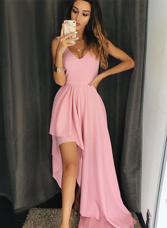 Unique pink v neck chiffon long prom dress, pink evening dress