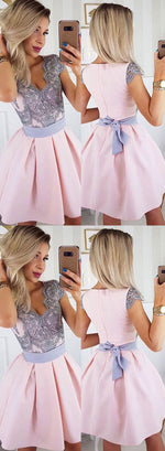 Cute pink satin lace short prom dress, homecoming dress
