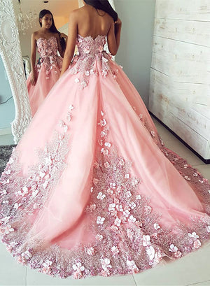 Pink tulle lace applique long prom dress, pink evening dress