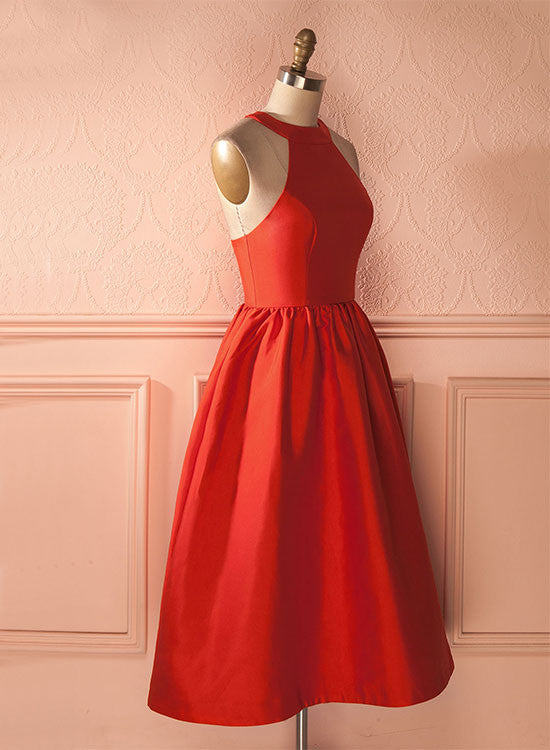 e89a1662987 ... Red satin round neck short prom dress