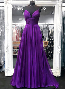Simple purple v neck chiffon long prom dress, purple evening dress