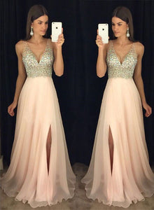 Sparkly crystal beaded pink v neck long prom dress, pink evening dress