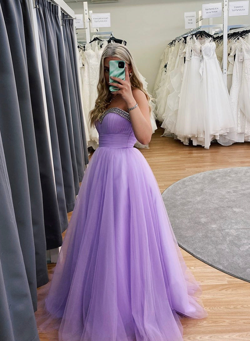 Purple tulle long prom dress evening dress