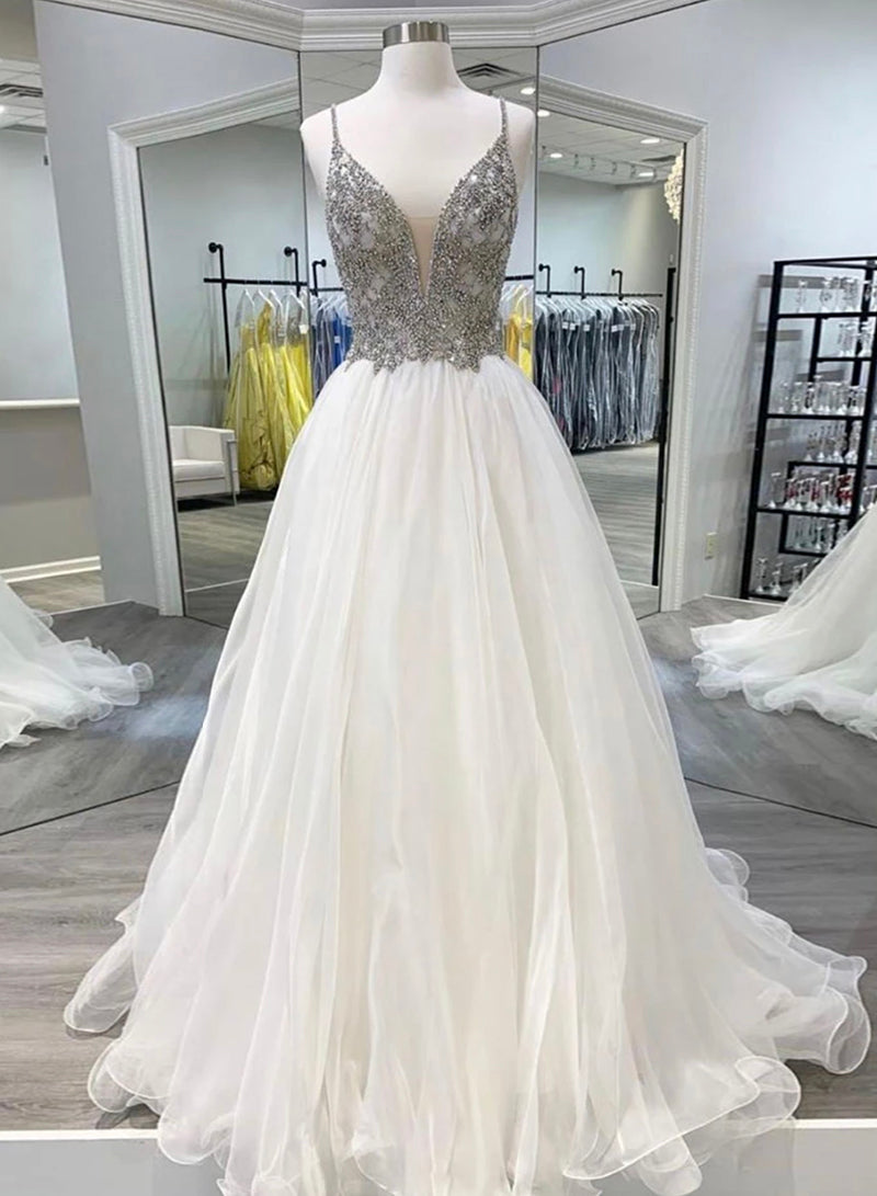 White v neck tulle beads long prom dress evening dress