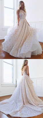 Custom made lace tulle long prom dress, evening dress