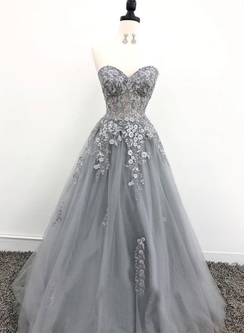 Gray sweetheart neck appliqué long prom dress, evening dress