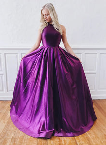Purple satin long prom dress, simple evening dress