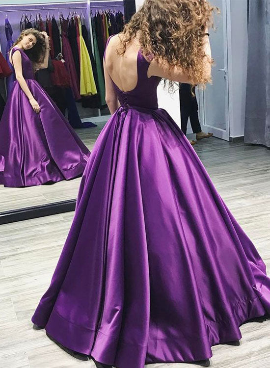 Simple purple satin long prom gown, purple evening dress