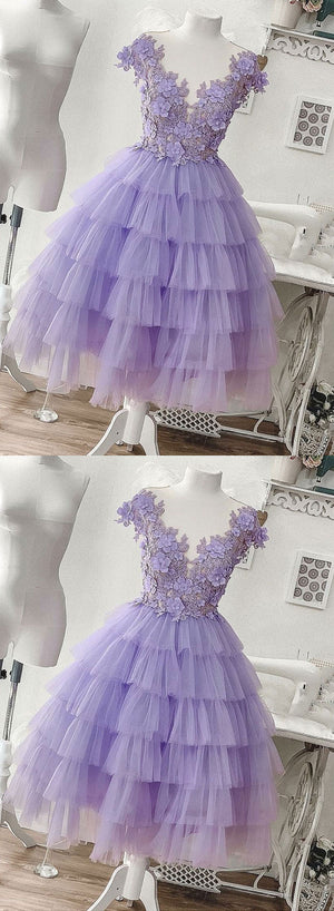 Purple tulle appliqué short prom dress, homecoming dress