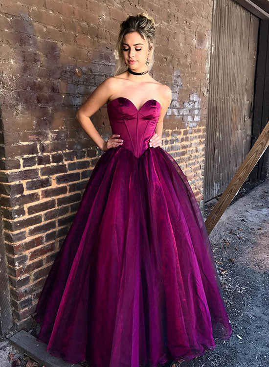 Stylish purple tulle long prom dress, evening dress