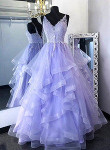 Purple tulle lace long prom gown formal dress