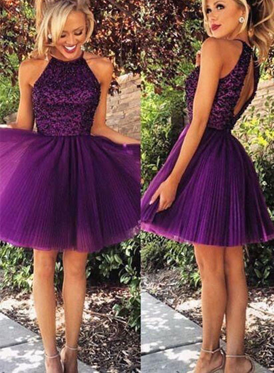 Cute A line purple tulle short prom dress, homecoming dress