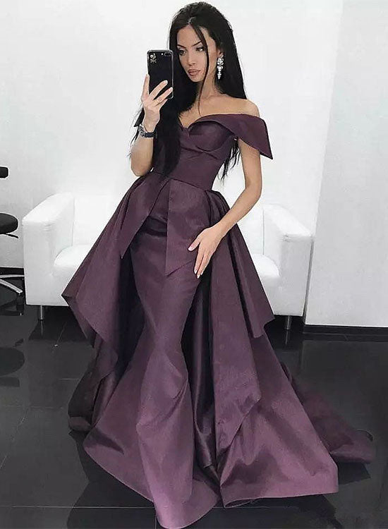Unique satin off shoulder long prom dress, evening dress