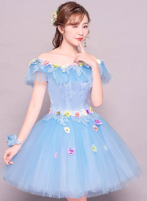Cute tulle lace short prom dress party dress