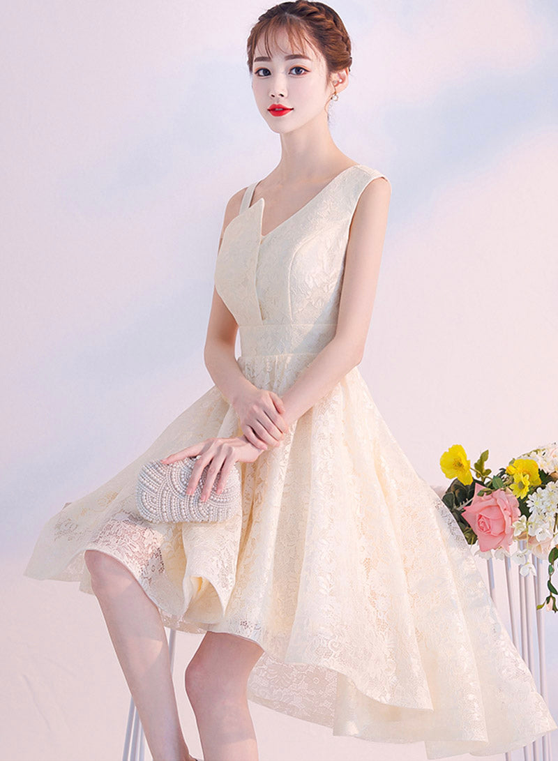 Cute lace one shoulder prom dress party dress