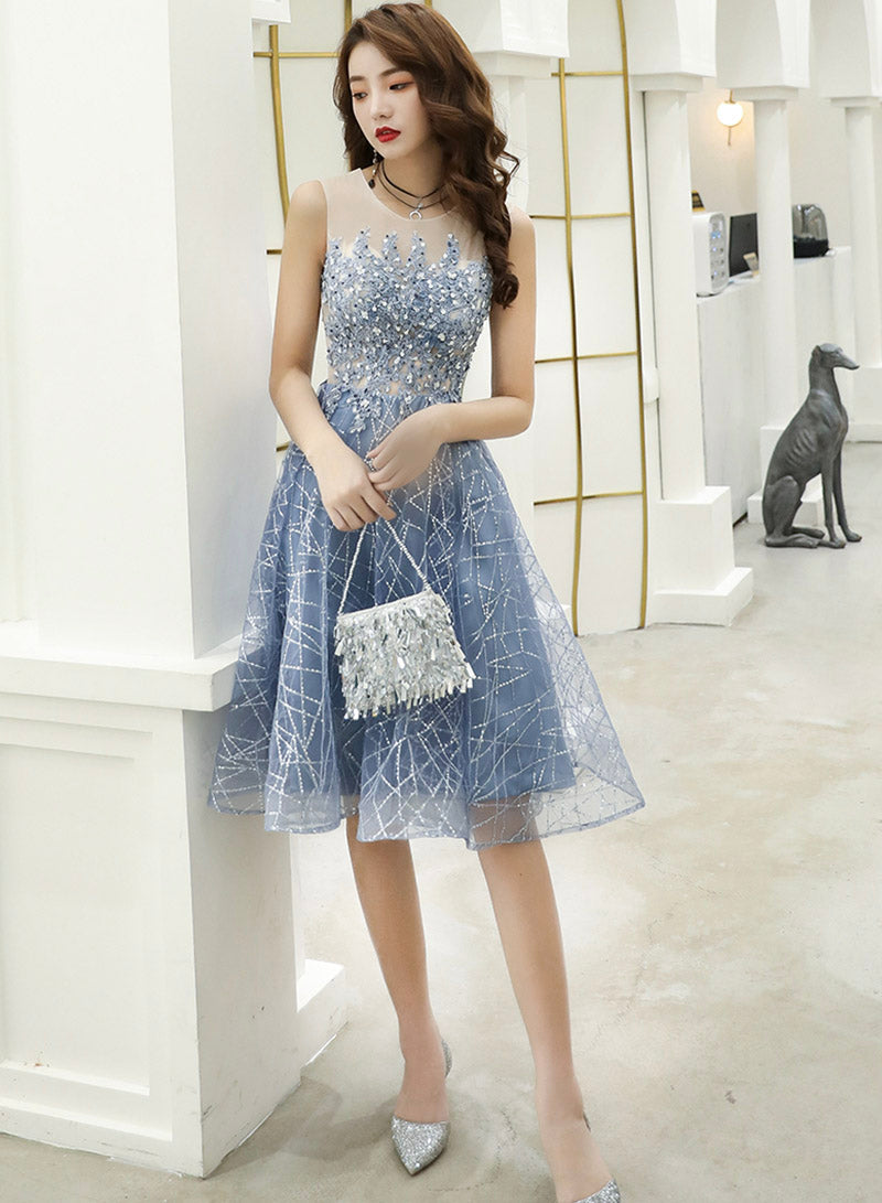Blue lace sequins short prom dress party dress