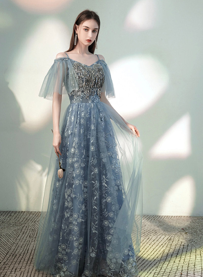 Blue tulle sequins long A line prom dress