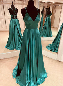 Simple satin prom dress green evening dress