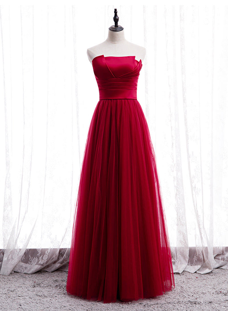Simple satin tulle long prom dress evening dress