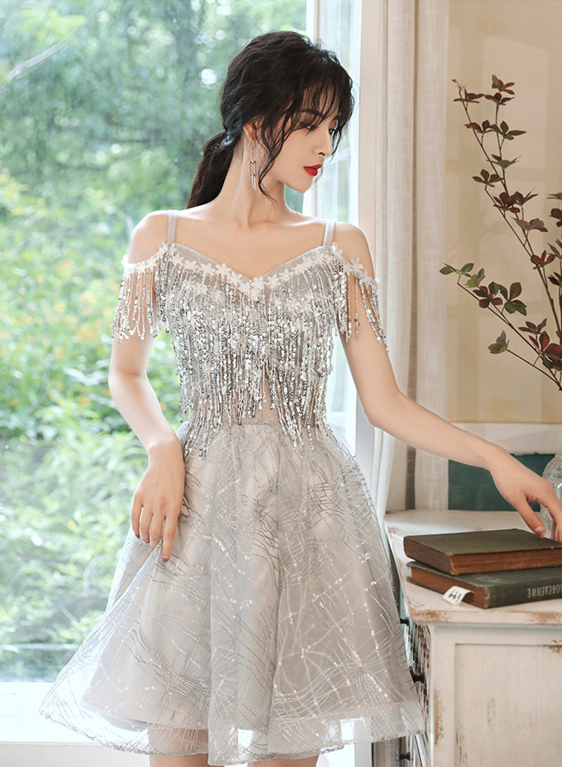 Gray tulle sequins short prom dress party dress