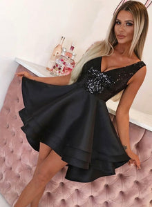 Black v neck sequins short prom dress homecoming dress