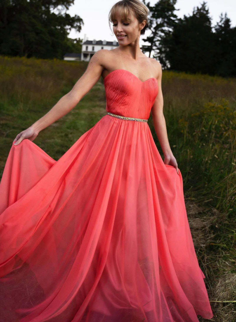 Red chiffon long prom dress simple evening dress