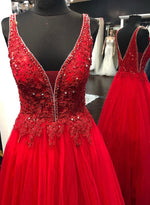 Red v neck tulle lace long prom dress evening dress