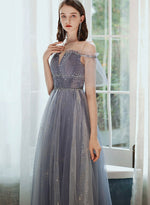 Elegant tulle sequins prom dress evening dress
