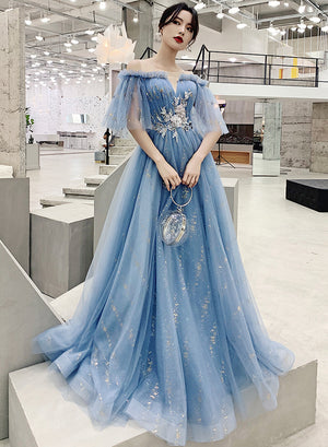 Blue tulle sequins prom dress evening dress