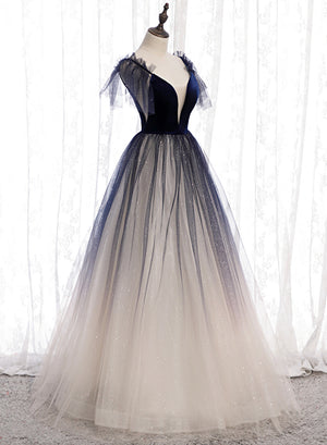 Blue v neck tulle long prom dress evening dress