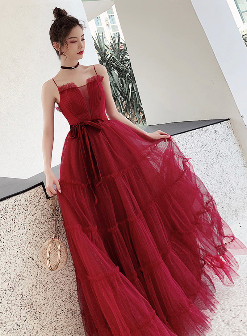 Burgundy tulle long ball gown dress evening dress