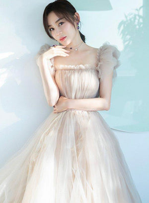 Cute champagne tulle prom dress evening dress