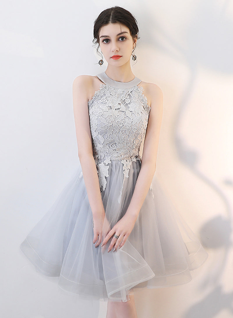 Cute gray tulle short prom dress party dress