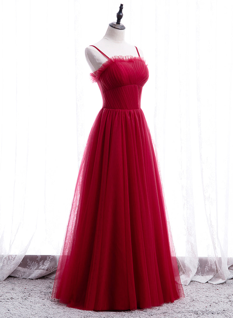 Simple tulle long prom dress evening dress