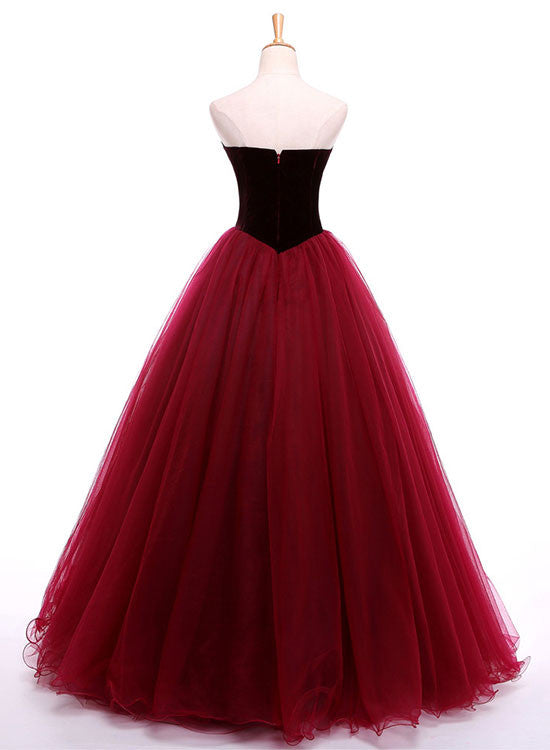Burgundy sweetheart neck long prom gown, burgundy evening dress