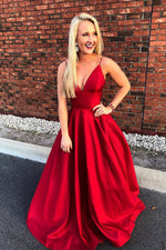 Red satin long A line prom dress red evening dress