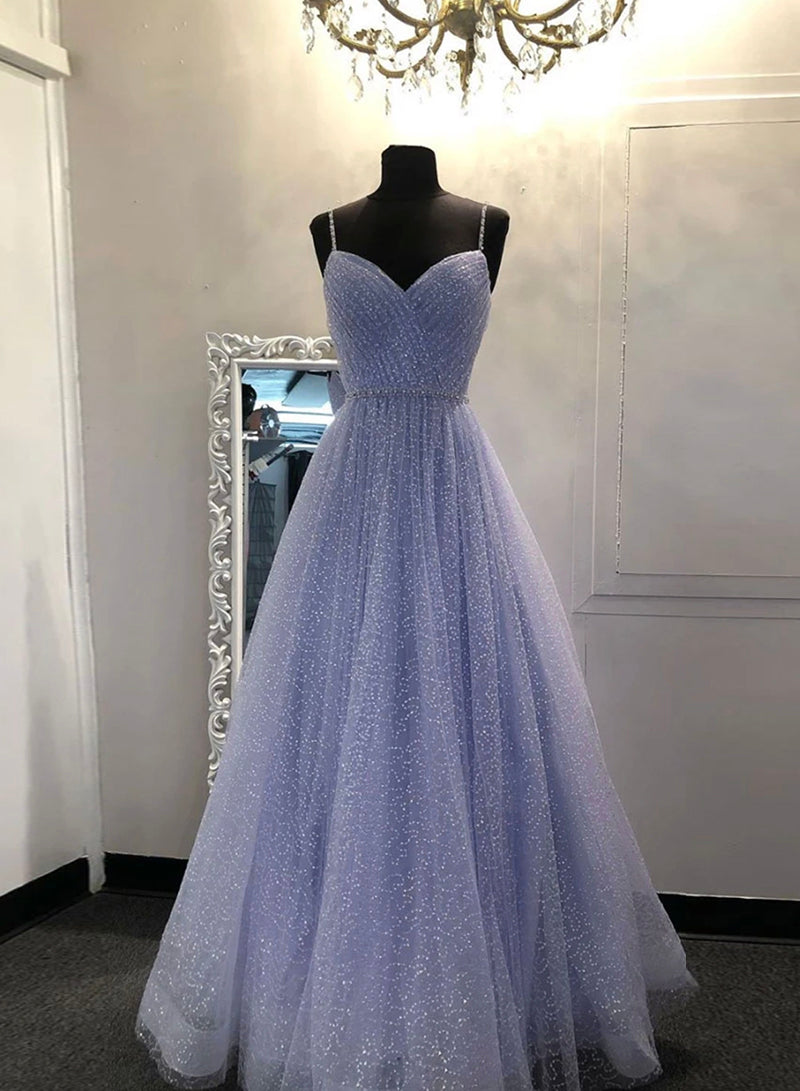 A line tulle sequins prom dress evening dress