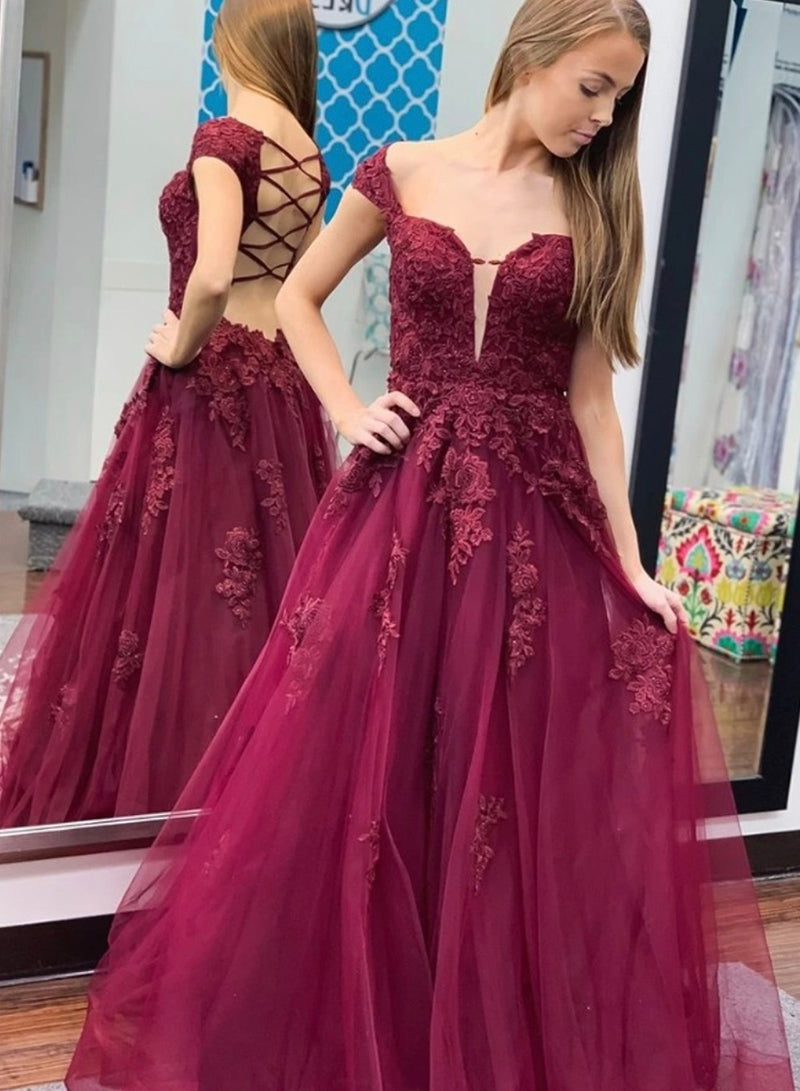Burgundy lace long prom dress evening dress