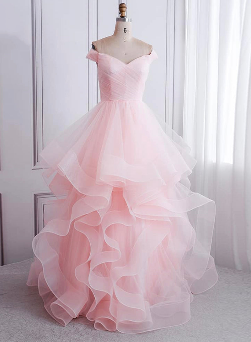 Pink tulle long A line prom gown formal dress